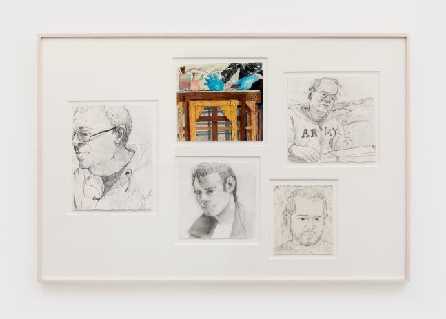 Rebecca Ness Five Portraits, 2020 Pencil and gouache on paper 21 x 32 in (framed) 53.3 x 81.3 cm (framed) (RNE20.006)