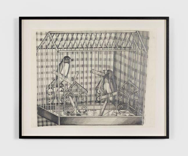 Nikki Maloof Caged Lovebirds, 2020 Graphite on paper 12 x 18 in 30.5 x 45.7 cm (NMA20.004)