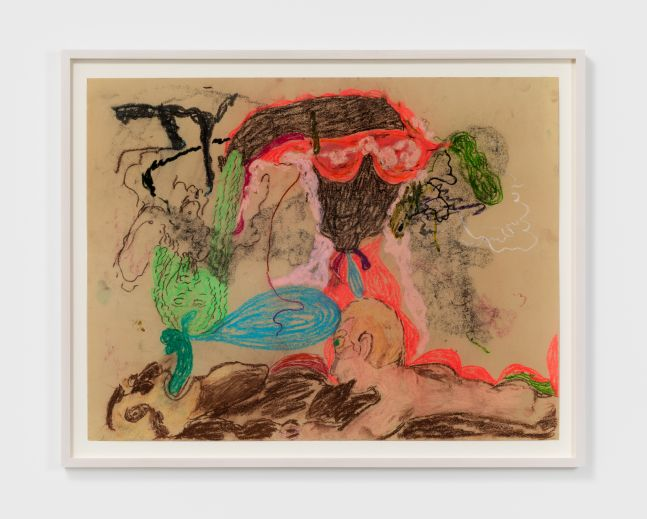 Michael Bauer & Raynes Birkbeck, Untitled, 2020. Oil, acrylic, oil pastel and charcoal on paper 19 1/2 x 25 1/2 in, 49.5 x 64.8 cm (unframed) 22 1/2 x 20 3/4 in, 57.1 x 52.7 cm (framed) (MBA20.014)