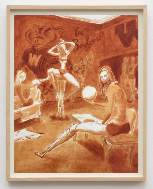 """Jansson Stegner, Study for """"The Locker Room"""", 2015. Pen and ink wash on paper, 17 1/2 x 14 1/4 in, 44.5 x 36.2 cm (JAS15.009)"""