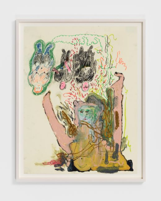 Michael Bauer & Raynes Birkbeck Untitled, 2019. Oil, acrylic, oil pastel and charcoal on paper 19 1/2 x 25 1/2 in, 49.5 x 64.8 cm (unframed) 22 1/2 x 20 3/4 in, 57.1 x 52.7 cm (framed) (MBA20.015)
