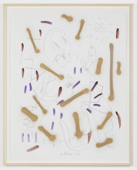 André Butzer Untitled, 2019. Acrylic and graphite on paper 28 3/4 x 23 in 73 x 58.4 cm 31.75 x 25.75 in, framed 80.6 x 65.4 cm, framed (AB20.006)
