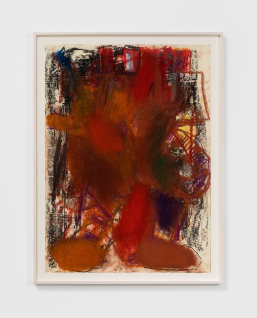 Anke Weyer Figure with Black Background, 2020 oil pastel on paper 26 x 19 in 66 x 48.3 cm (AWE20.001)