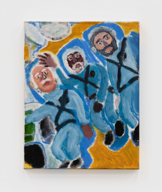 Raynes Birkbeck, Trio in Space, 2019. Oil and acrylic on canvas, 14 x 18 in, 35.6 x 45.7 cm (RBI20.015)