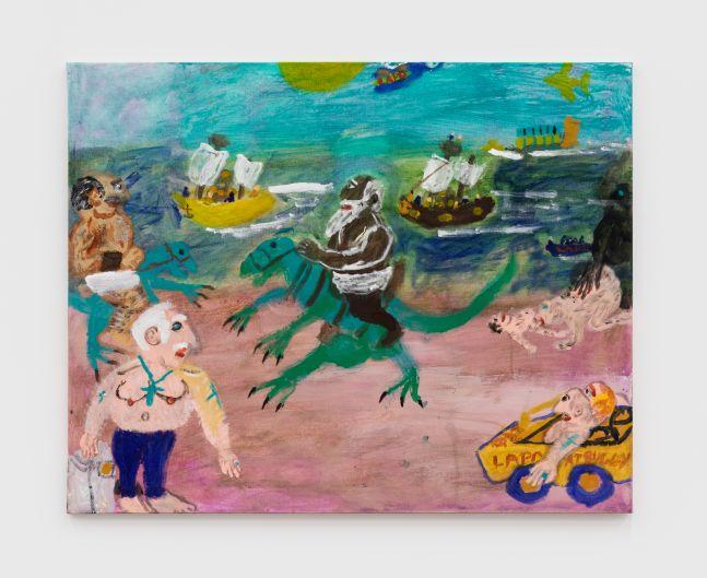 Raynes Birkbeck Dinoback riding on the Beach, 2020 Oil and acrylic on canvas 24 x 30 in 61 x 76.2 cm (RBI20.010)