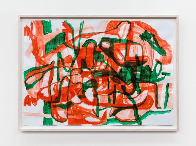 Jana Schröder B&T r/g 3, 2021 Acrylic on paper 27 1/2 x 39 3/8 in 70 x 100 cm (JSR21.009