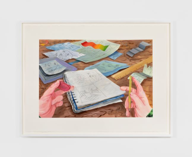 ebecca Ness, Desk, 2020. Gouache and graphite on paper, 22 x 30 in, 55.9 x 76.2 cm, 24 5/8 x 32 3/4 in (framed), 62.5 x 83.2 cm (RNE20.027)