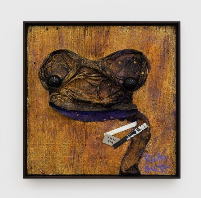 Jon Pylypchuk I love you, 2019 Wood glue, underwear, sock, glitter, shellac, polyurethane, black cue balls on plywood 24 x 24 in 61 x 61 cm (JPY20.001)