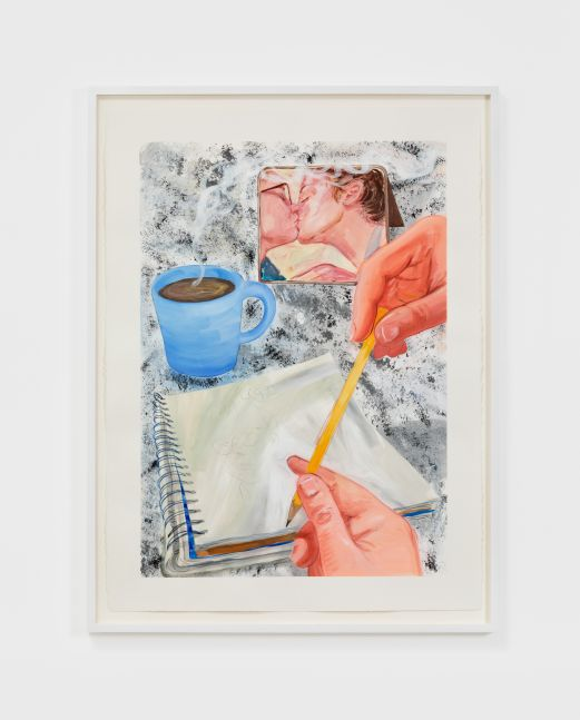 Rebecca Ness, Morning Kiss, 2020. Gouache and colored pencil on paper, 30 x 22 in, 76.2 x 55.9 cm, 32 3/4 x 24 5/8 in (framed), 83.2 x 62.5 cm (RNE20.025)