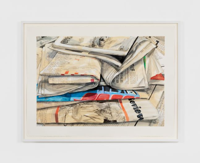 Rebecca Ness, Newspapers I, 2020. Gouache and pencil on paper, 22 x 30 in, 55.9 x 76.2 cm, 24 5/8 x 32 3/4 in (framed), 62.5 x 83.2 cm (RNE20.021)