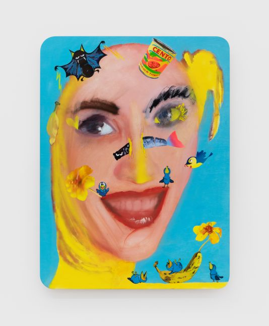 Alessandro Pessoli Yellow Queen, 2020 Oil, spray paint, oil pastels and pencil on wood panel 40 x 30 in 101.6 x 76.2 cm (APE20.009)