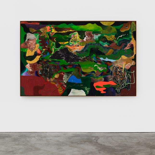 Michael Bauer Green Valley and Uncle, 2020 Oil, crayon, pastel and acrylic on canvas 67 x 86 in 170.2 x 218.4 cm (MBA20.012)