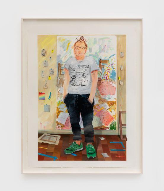 Rebecca Ness Isolation Studio Self Portrait, 2020 Gouache and pencil on paper 29 x 22 in 73.7 x 55.9 cm (RNE20.004)