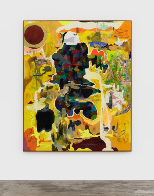 Michael Bauer Barbarian Knowledge, 2020 Oil, crayon, pastel and acrylic on canvas 73 x 60 in 185.4 x 152.4 cm (MBA20.010)