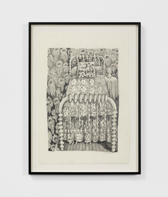 Nikki Maloof Bed with Wallpaper, 2020 Graphite on paper 18 x 12 in 45.7 x 30.5 cm (NMA20.006)