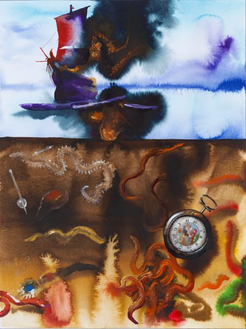 split-view watercolor with a flaming ship on the top half and invertebrate sea-life and a pocket watch under the waterline
