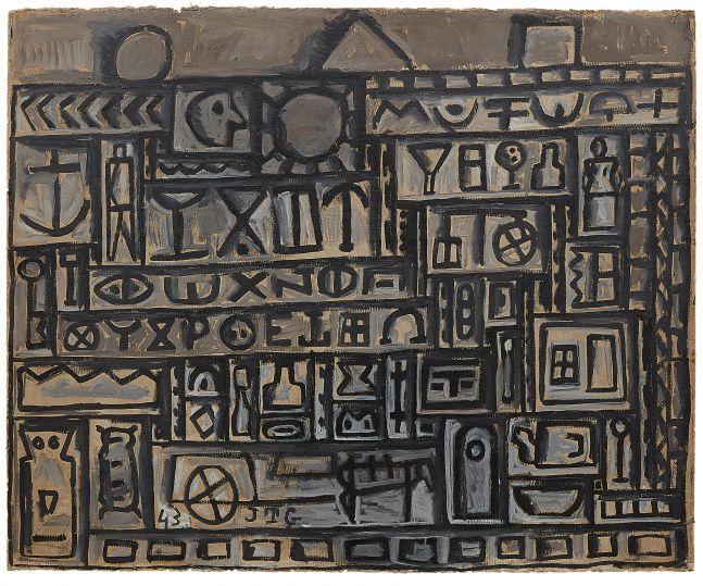 Joaquín Torres-García Monumento constructivo [Constructive Monument], 1943 Oil on board 33 1/4 x 40 3/4 inches (84.5 x 103.5 cm)