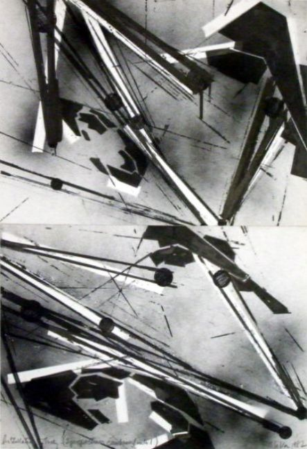 Untitled (installation Study - two perspectives combined into one), 1982