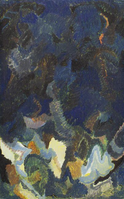 Untitled (Edge Crush), n.d. Oil on cardboard 26 x 16 1/4 inches