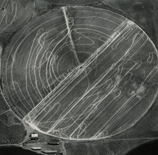 Harvest Traffic over Agricultural Pivot near Hermiston, Oregon, 1991