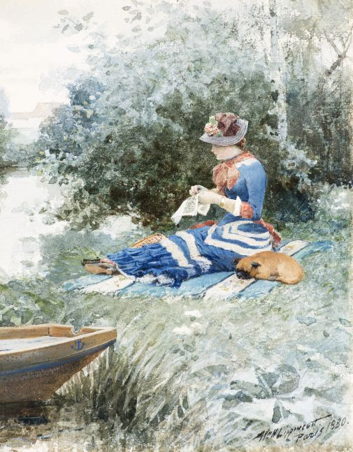 William H. Lippincott (1849–1920)  En attendant (Waiting), 1880. Watercolor on paper, 10 1/2 x 8 1/2 in. Signed and dated lower right: Wm. H. Lippincott / Paris 1880