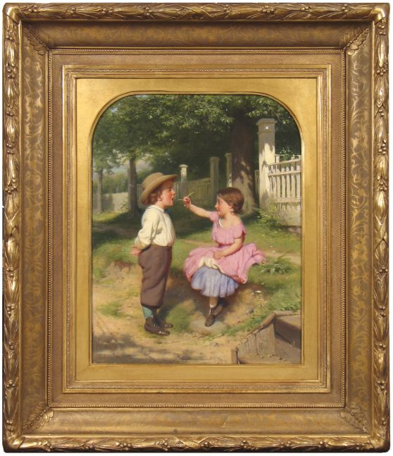 Seymour Joseph Guy (1824–1910), Close Your Eyes, c. 1863, Oil on canvas, 18 x 14 in. (framed)