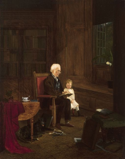 Charles Caleb Ward (1831–1896), The Lesson, 1875, oil on board, 10 x 7 7/8 in., signed and dated lower right: Charles C. Ward 1875