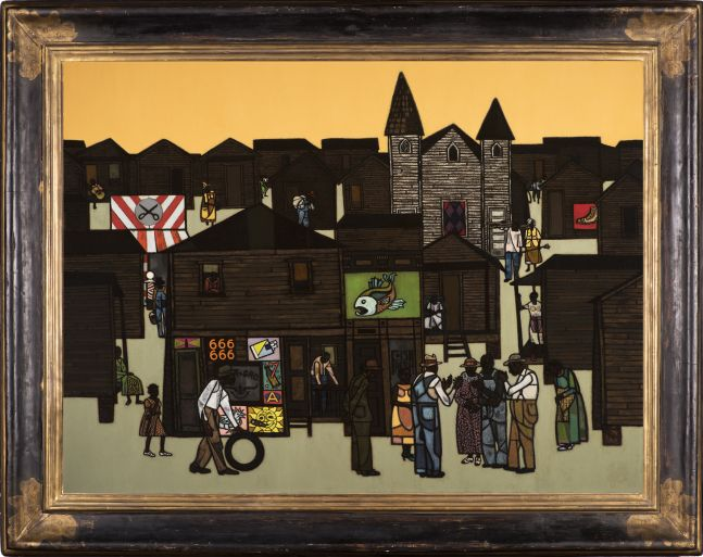 Robert Gwathmey (1903–1988), The Gathering, c. 1959, oil on canvas, 36 x 48 in., signed lower left: Gwathmey (framed)