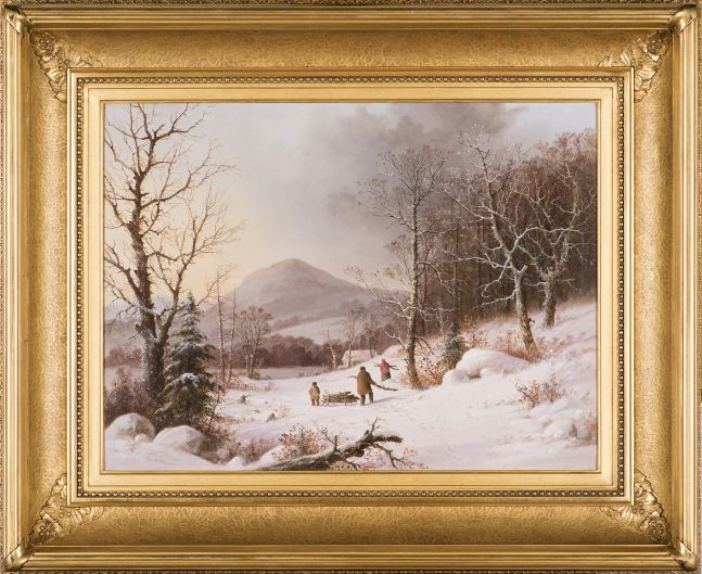 George Henry Durrie (1820–1863), Gathering Wood, c. 1859, oil on canvas, 18 1/8 x 24 in.. signed lower left: G.H. Durrie / N. Haven (framed)