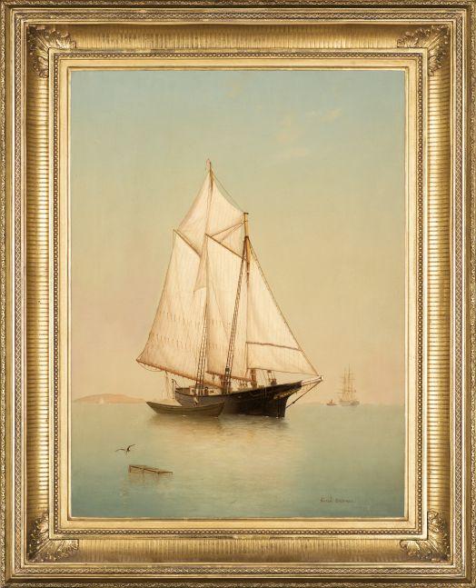 Warren Sheppard (1858–1937), Schooner off Ten Pound Island, oil on canvas, 24 x 18 in., signed lower right: Warren Sheppard (framed)