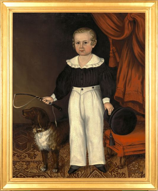Joseph Whiting Stock (1815–1855), Full Length Portrait of a Young Boy with His Dog, ca. 1840-45, oil on canvas, 47 x 38 in. (framed)