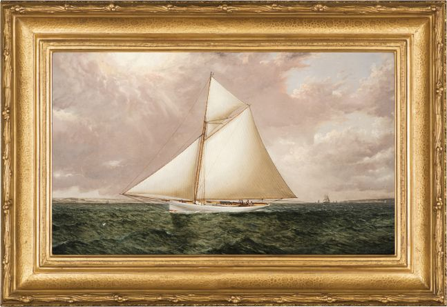 James E. Buttersworth (1817–1894), A Gaff Rigged Racing Cutter, c. 1893, oil on canvas, 12 x 20 in., signed lower right: Jas. Buttersworth (framed)