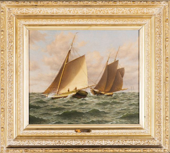 William M. Davis (1829-1920), Schooners at Sea: A Close Shave, oil on canvasboard, 12 x 14 in. signed lower left: Wm M. Davis (framed)