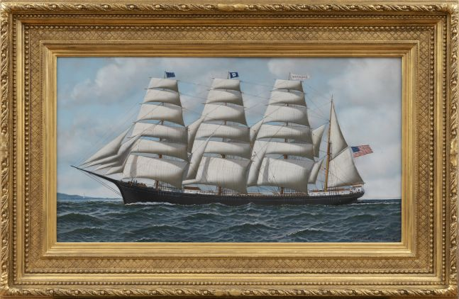 Antonio Jacobsen (1850–1921), The Four Masted Barque Roanoke Under Full Sail, 1914, oil on board, 19 1/2 x 35 1/2 in., signed, dated and inscribed lower right: Antonio Jacobsen 1914/ 31 Palisade Av. West Hoboken. NJ (framed)