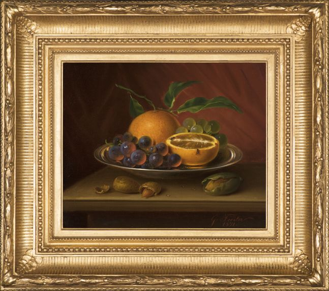 George Forster (1817–1896), Still Life with Fruit, Nuts and Fruit Flies, 1871, oil on canvas, 9 7/8 x 12 in., signed and dated lower right: G. Forster. / 1871. (framed)