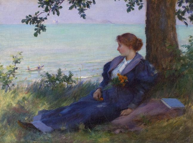 Charles Courtney Curran (1861–1942), An Afternoon Respite, 1894, oil on canvas, 9 x 12 in.. signed and dated lower right: Chas C. Curran 1894