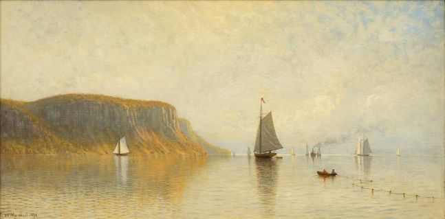 Thomas W. Marshall (1850-1874), Hudson River Near Hastings, 1872, oil on canvas, 18 x 36 in., signed and dated lower left: Thomas W. Marshall 1872
