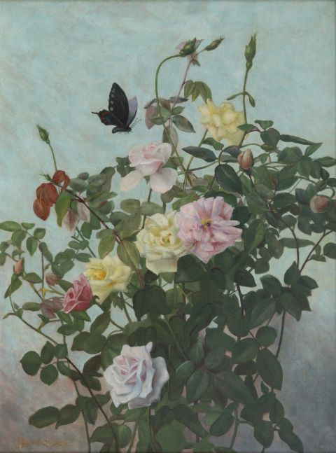 George Cochran Lambdin (1830–1896). Roses with Butterfly. Oil on canvas, 24 x 18 in. Signed lower left
