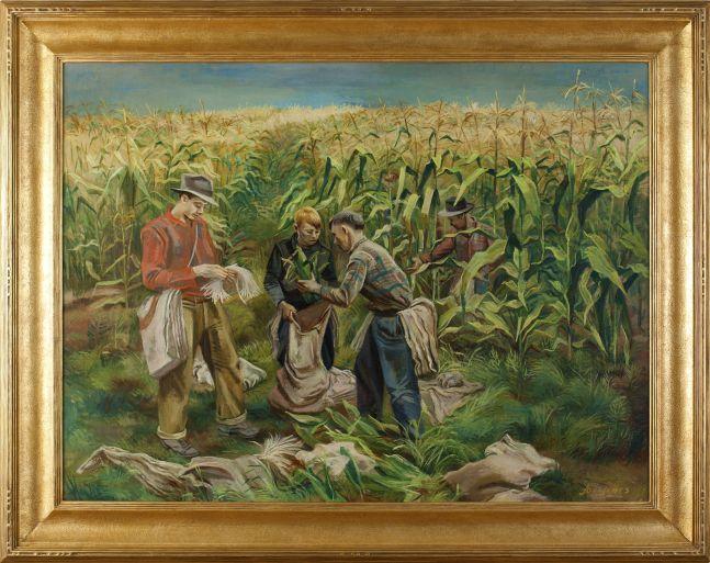 Joe Jones (1909–1963), Cornfield, 1941, oil on canvas, 30 1/8 x 40 1/8 in., signed and dated lower right: Joe Jones 1941 (framed)