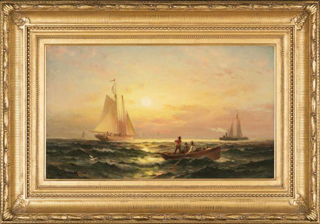 Edward Moran (1829-1901), Shipping at Sunset, oil on canvas, 11 1/4 x 19 1/4 in., signed lower left: Edward Moran (framed)