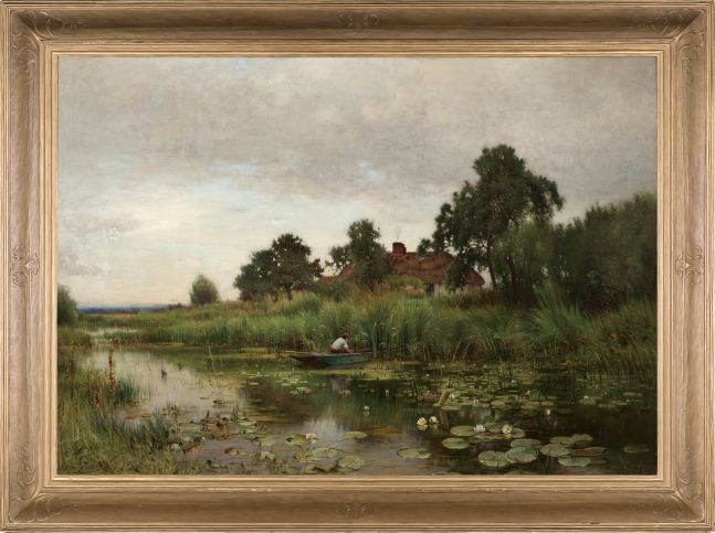 Ernest Parton (1845–1933), The Lily Pond, 1891, oil on canvas, 42 x 60 1/8 in., signed lower left: Ernest Parton 1891 (framed)