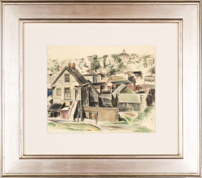 Earl Horter (1881–1940), Gloucester, Massachusetts, 1932, pastel on vellum, 12 x 14 ½ in., signed and dated lower right: E. Horter '32 (framed)