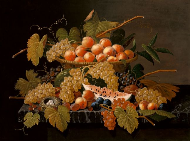 Severin Roesen (1816–c. 1872), Still Life with Fruit and a Bird's Nest, c. 1871, oil on canvas, 30 x 40 in.