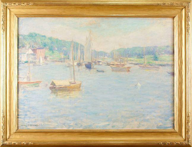Edmund Greacen (1876–1949), Southport Harbor, c. 1930-33, oil on canvas, 26 1/4 x 36 1/8 in.. signed lower left: Edmund Greacen (framed)