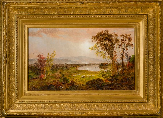 Jasper F. Cropsey (1823–1900), A Bend in the River, 1892, oil on canvas, 12 1/2 x 20 1/2 in.,  signed and dated bottom center: J. F. Cropsey 1892 (framed)