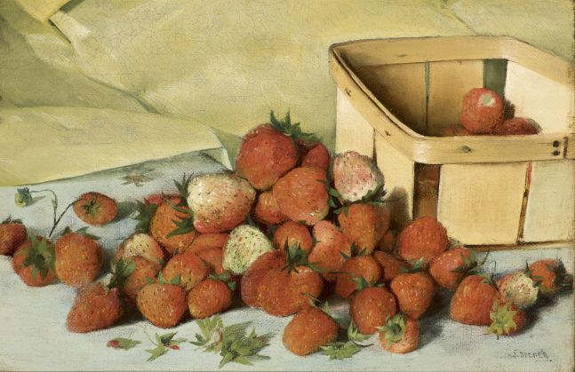 Joseph Decker (1853–1924), Still Life with Strawberries, c. 1885, oil on canvas, 8 x 11 7/8 in., signed lower right: J. Decker