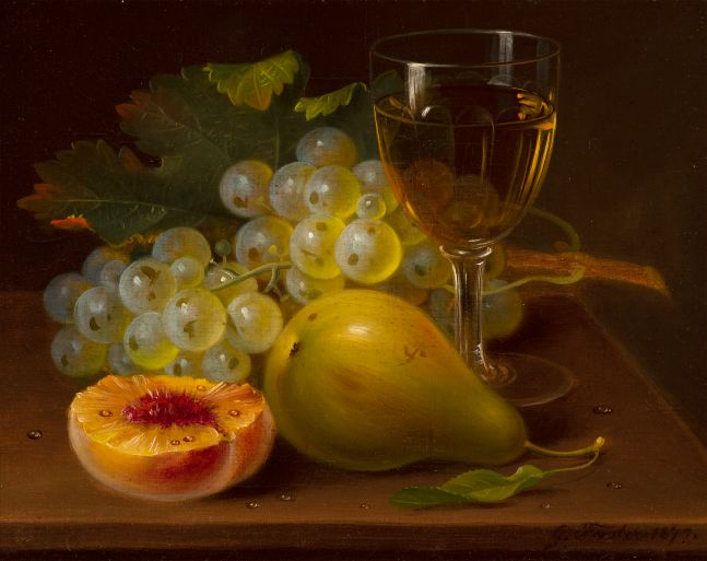 George Forster (1817–1896), Still Life with Fruit and Wine Glass, 1872, oil on canvas, 8 x 10 in., signed and dated lower left: G. Forster. 1872.