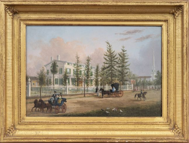 John Evers, Jr. (1797–1884). Front Street, Hempstead, New York, 1870. Oil on canvas. 11 ¾ x 17 in. Unsigned (framed)