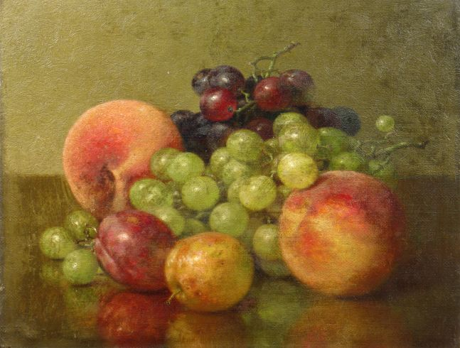 Robert Spear Dunning (1829–1905), Fruit Still Life, 1902, oil on canvas, 9 x 11 3/4 in., signed lower left: R.S. Dunning, inscribed on verso: R.S. Dunning / 1902 / Fruit