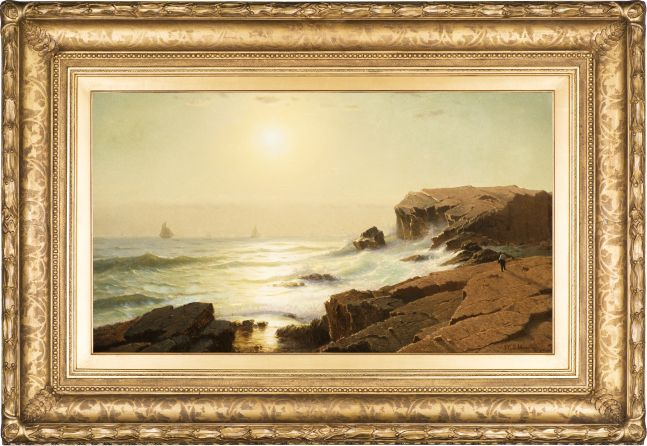 William Stanley Haseltine (1835–1900), Sunrise at Narragansett, Rhode Island, 1863, oil on canvas, 18 1/4 x 31 3/4 in., signed and dated lower right: W.S. Haseltine, N.Y. 1863 (framed)